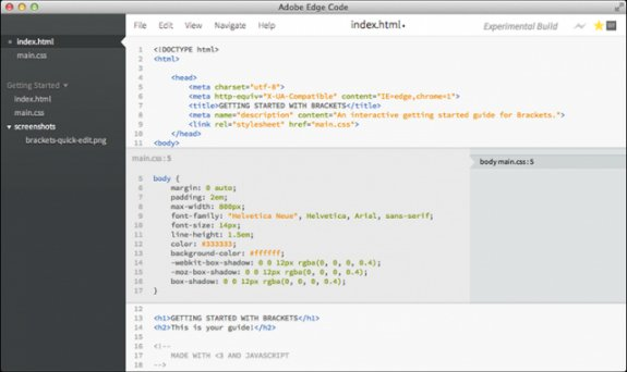 Adobe Edge Code screenshot