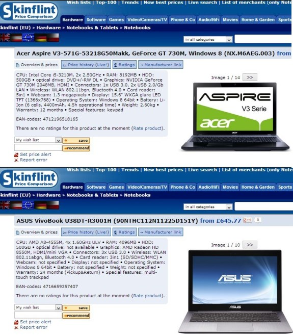 Laptops with GeForce GT 730M and Radeon HD 8550M