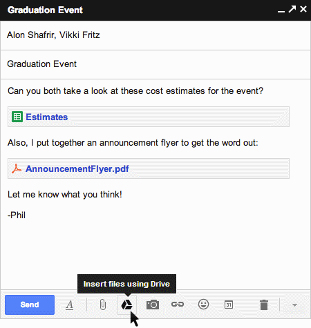 Google Drive in Gmail integration