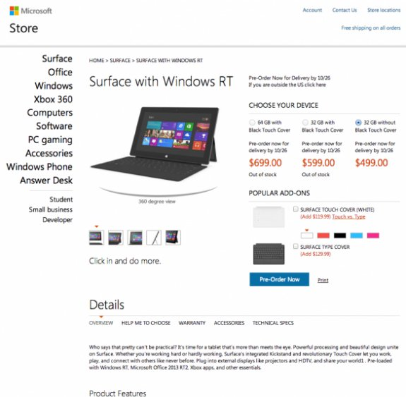 Microsoft Surface RT pricing