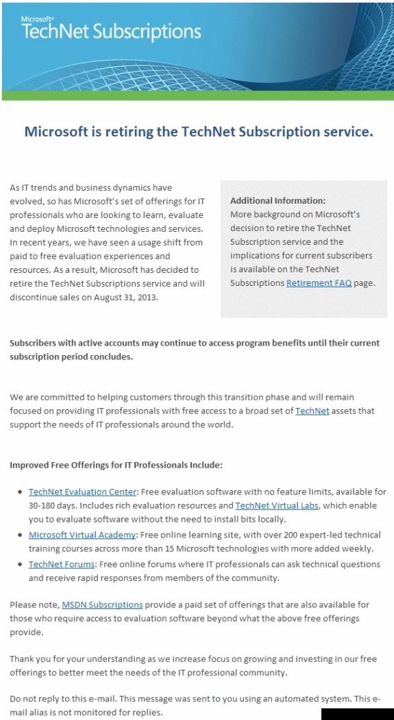 Microsoft TechNet cancellation mail