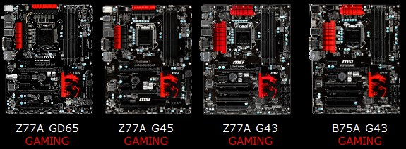 MSI Z77 gaming series motherboards