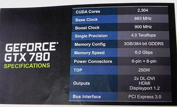 GeForce GTX 780 specifications