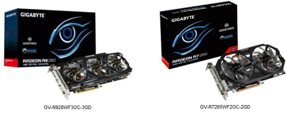 GIGABYTE Radeon R9 280 and R7 265 OC Edition