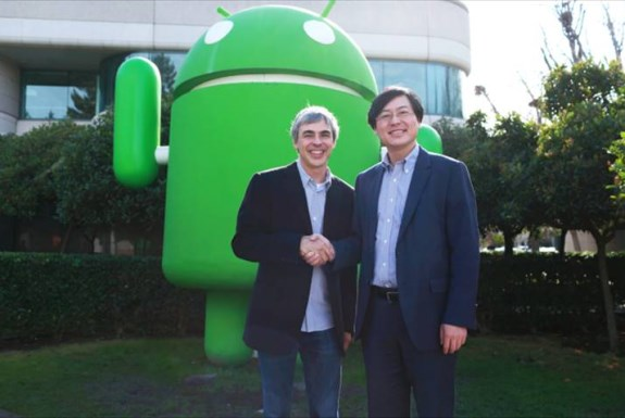 Larry Page (Google) & Yang Yuanqing (Lenovo)