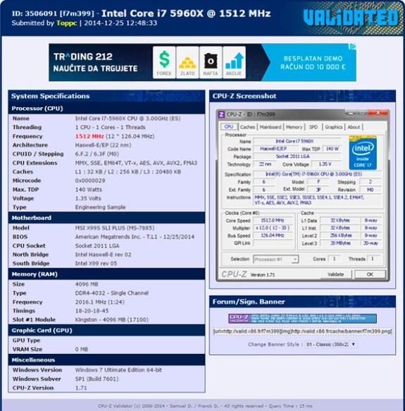 MSI X99 4032MHz DDR4