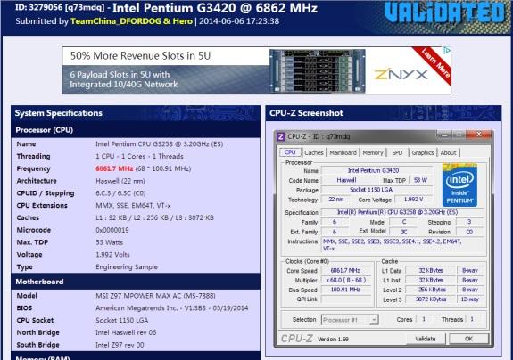 MSI G3420 OCed massively