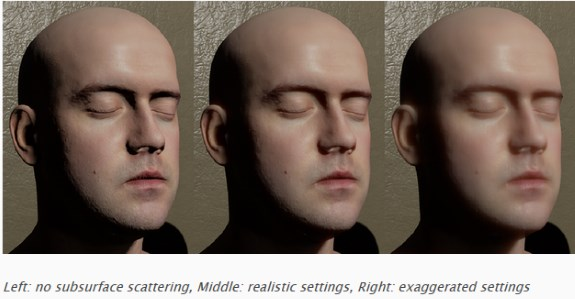 Unreal Engine face with screen-space subsurface scattering