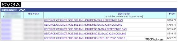 GTX 980 Ti pricing EVGA