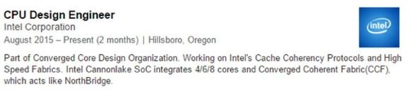 Intel Cannonlake linkedin