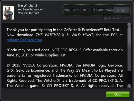 NVIDIA The Witcher 3 promo