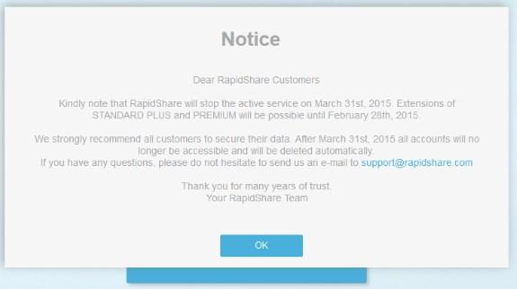 Rapidshare closure