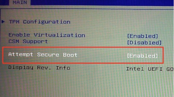 Microsoft secure boot witch in BIOS