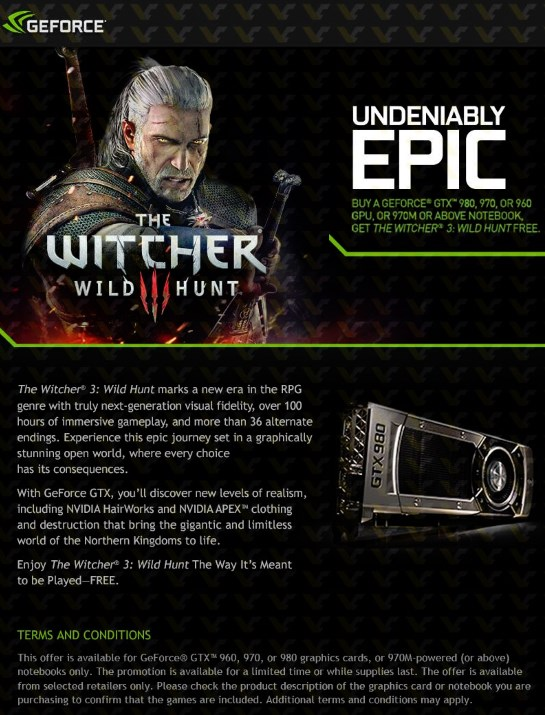 NVIDIA Witcher III promo