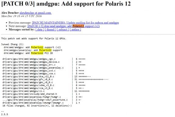 AMD Polaris 12 notes