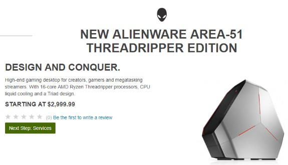 AMD Threadripper system from Dell Alienware