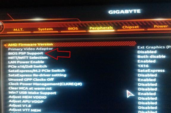 AMD disable PSP option in UEFI