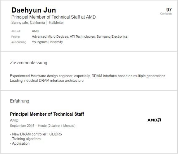 linkedin GDDR6  AMD
