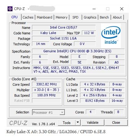 Intel Kaby Lake X chip
