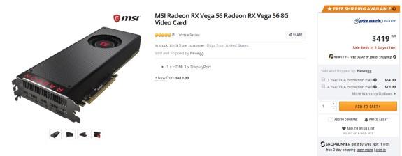 Newegg RX Vega 56 for 419USD