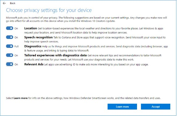 MS privacy settings W10 Creators Update