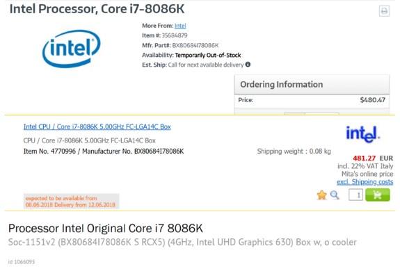 INTC 8086K CpU listing on webshops