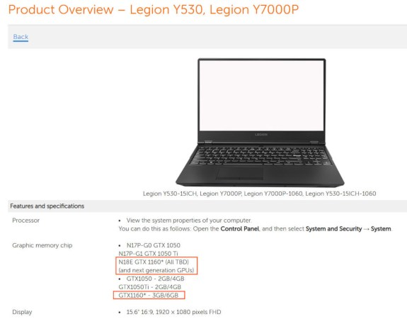Lenovo hinting at GeForce GTX 1160