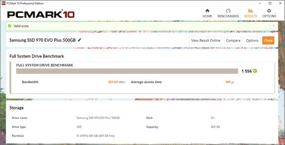 PCMark 10 SSD test