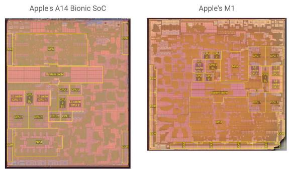 Apple A14 Bionic vs M1 die