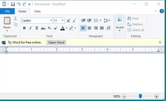 WordPad with ads