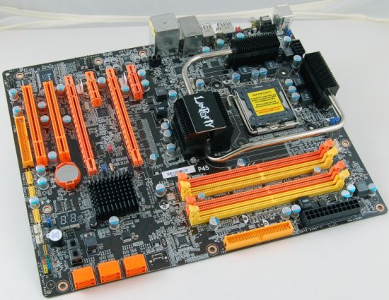 DFI LanParty DK P45-T2RS motherboard pictured