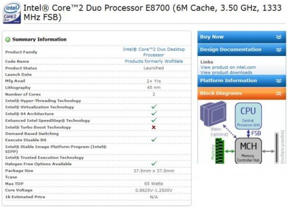 Intel prepping 3.5GHz Core 2 Duo E8700?