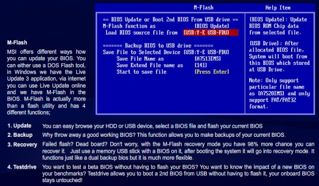 MSI M-Flash boots second BIOS from USB drive
