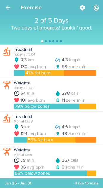 Fitbit app exercise tracking