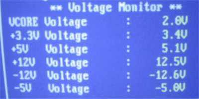 Voltages from in my bios